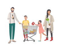 Concept for supermarket or shop. Happy family, people with shopping cart. Colorful flat vector illustration. Stock Images