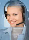 Concept of support service. Beautiful smiling girl in headphones with microphone Stock Photos