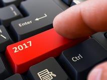 2017 - Concept sur le bouton rouge de clavier 3d Images libres de droits