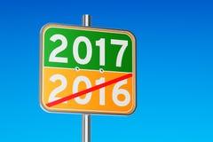 2017 concept sur le poteau indicateur de route, rendu 3D Images stock