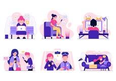 Concept surfant social de réseau et de Web illustration libre de droits