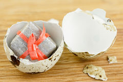 The concept of surprise  Gift box in the egg. Stock Photos