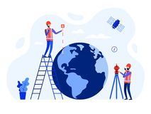 Concept surveyors, geodesists and land engineers using the total station, theodolite, measuring instruments, satellite, globe stock illustration