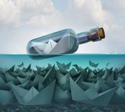 Concept Of Survival. And smart competition strategy and tenacity as a paper boat in a bottle surviving over competitors to persist as a success idea with 3D Stock Photos