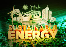 The concept of sustainable energy stock illustration