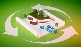 Concept of sustainable living. Modern style organic shape building with grass roof and independent energy source Royalty Free Stock Images