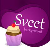 Concept of a sweet holiday. Capcake, dessert, pastries, cherry. Paper cut background. royalty free illustration