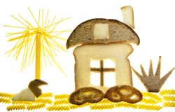 The concept of the sweet home from bread and pasta Stock Photo