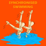 Concept of Synchronised Swimming sports with wooden human mannequin Royalty Free Stock Images
