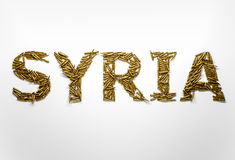 Concept of Syrian war crisis. Word Syria typed with font made of Stock Photos
