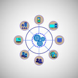 Concept of System connectivity, Employees, users connecting various enterprise application systems. Like database, monitoring systems, web and mobile Royalty Free Stock Photos