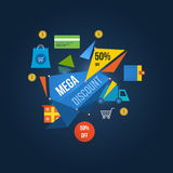 Concept of system mega discounts and special offers. Concept of system mega discounts to 50 per cent and special offers. Vector illustration royalty free illustration