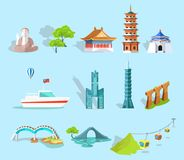 Concept of Taiwan Attractions Graphic Art Design Royalty Free Stock Images