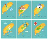 Concept of Taiwan Map in Pacific Ocean Graphic. Concept of Taiwan map in Pacific Ocean. Vector illustration of Chiang Kai-shek Memorial Hall, Confucius Temple royalty free illustration