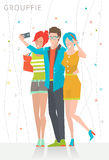 Concept of taking selfie photo on smart phone. /  three young people are making photo together /  vector illustration Stock Photography