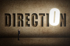 Concept of target, choice, decisioin. Etc with asian business man and 3D text on wall Stock Photos