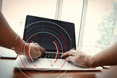 Concept of target focus digital diagram,graph interfaces,virtual UI screen,connections netwoork.Hipster finance analist working w. Ith laptop at trendy office royalty free stock photos