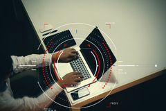 Concept of target focus digital diagram,graph interfaces,virtual Stock Photo