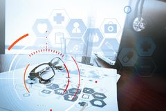Concept of target focus digital diagram,graph interfaces,virtual Royalty Free Stock Photo