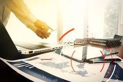 Concept of target focus digital diagram,graph interfaces,virtual Royalty Free Stock Photos