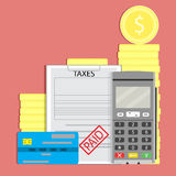 Concept tax paid. Taxation transaction, transfer pay money, vector illustration Royalty Free Stock Image