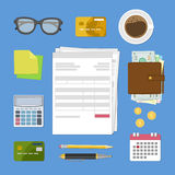 Concept of tax payment and invoice. Bills and checks. Stock Photos
