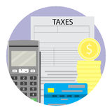 Concept of taxation. Accounting and online tax annual, vector illustration Stock Image