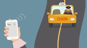 Concept of taxi services. Mobile phone in cute female hand with a taxi call on the screen. Yellow cab with a taxi driver rides on vector illustration