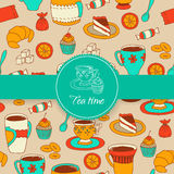 Concept of tea time sticker stuff Stock Image