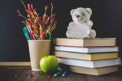 Concept of Teacher's Day. Objects on a chalkboard background. Books, green apple, bear with a sign: Happy Teacher's Day, pencils Royalty Free Stock Images