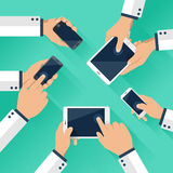 Concept of team of business using tablet and smart phone with mobile phone Stock Photography