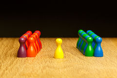 Concept team, leader, leadership, adoration yellow pawn Stock Image