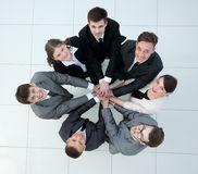 Concept of the team .standing in a circle of friendly business t Royalty Free Stock Photo