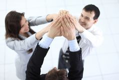 Friendly business team holding hands. Concept of team work: friendly business team Stock Image