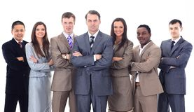 Businessman and professional multinational business team Stock Photography
