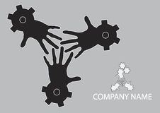Concept of teamwork. Logo conceptual illustration of fingers intertwined together within gears or cogs. Concept of teamwork and labor unity Royalty Free Stock Photo