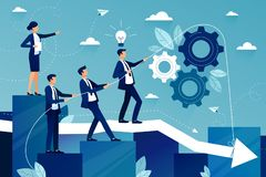 Concept of teamwork in business company. Business team walking to success. Female boss showing way to future success vector illustration