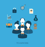 Concept of teamwork of business people leading, flat icons. Illustration concept of teamwork of business people leading, flat icons of business and finance item Royalty Free Stock Image