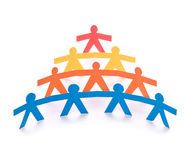 Concept of teamwork, colorful paper dolls Stock Images