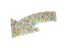 Concept of teamwork - crowd of people. Concept of teamwork, Many people build in the form of an arrow. Cartoon style image Stock Photos