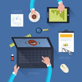 Concept of teamwork in flat design. Flat design modern vector illustration concept of teamwork. Top view of desk background with laptop, digital devices, office Stock Image