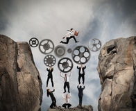 Concept of teamwork with gear system royalty free stock photo