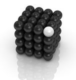 Concept of teamwork and leader. One cube formed by many spheres with one in different color (3d render Stock Images