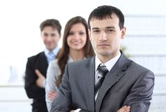 Businessman and his business team Royalty Free Stock Photo