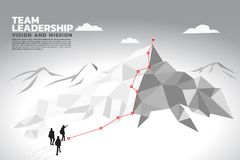 Silhouette of a team leader look up to top of mountain. vector illustration