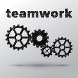 Concept of teamwork with mechanical gears Stock Images