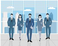 Concept teamwork. Men and women in the office. Set of business people, office team.  Stock Images