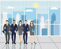 Concept teamwork. Men and women in the office. Set of business people, office team.  Stock Photography