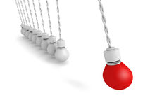 Concept Teamwork Pendulum From Light Bulbs On White Background Royalty Free Stock Image