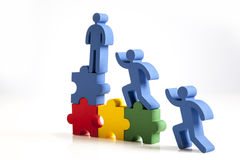 Concept of teamwork, people and icons Royalty Free Stock Photography